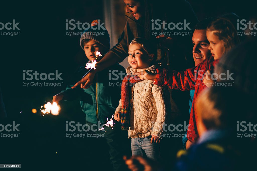 Family Gathering on Bonfire Night stock photo