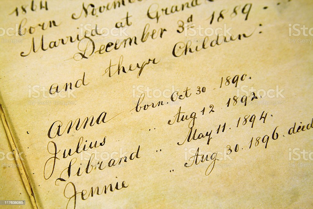 Family Genealogy - Front page of old Bible 1800s stock photo