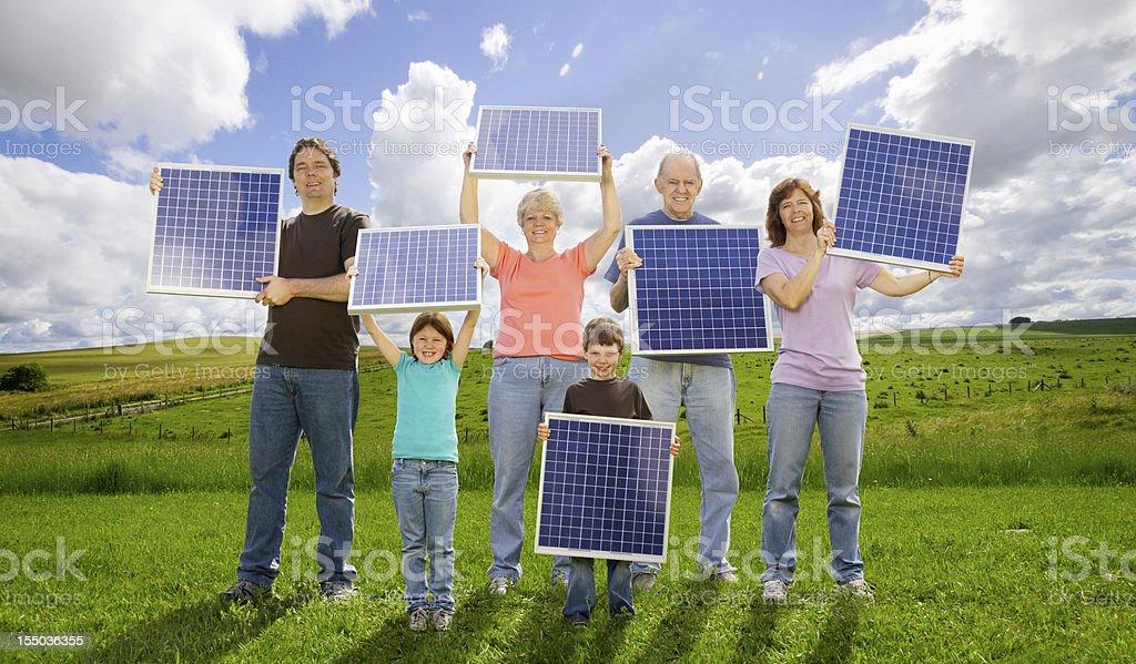 Family Generations and Solar Energy stock photo