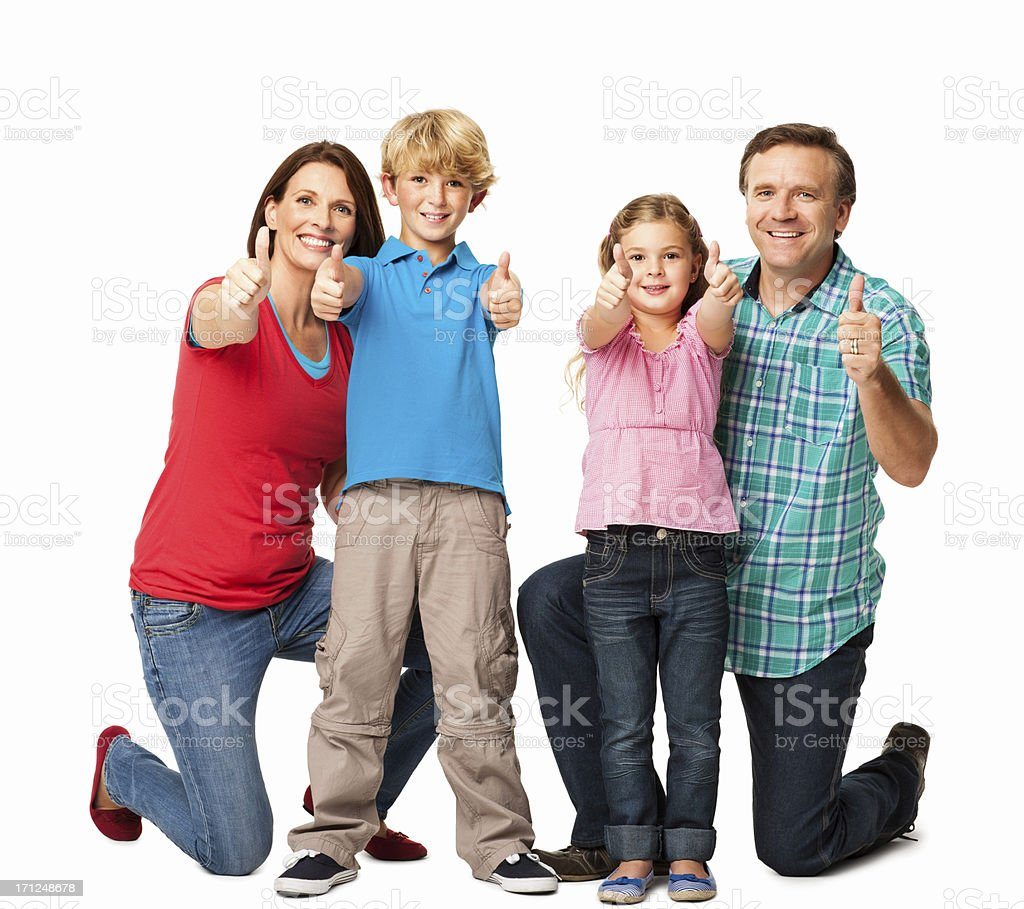 Family Gesturing Thumbs Up - Isolated royalty-free stock photo