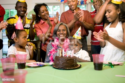 istock Family giving birthday party to grandmother 83480768