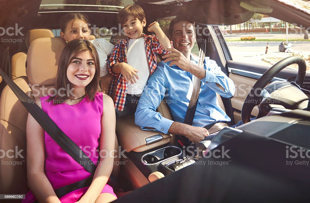 Family going on a road trip stock photo