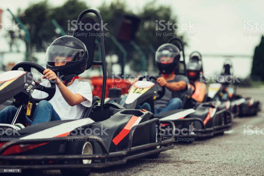 Family go-Karts stock photo