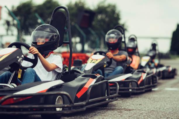 Family go-Karts stock photo
