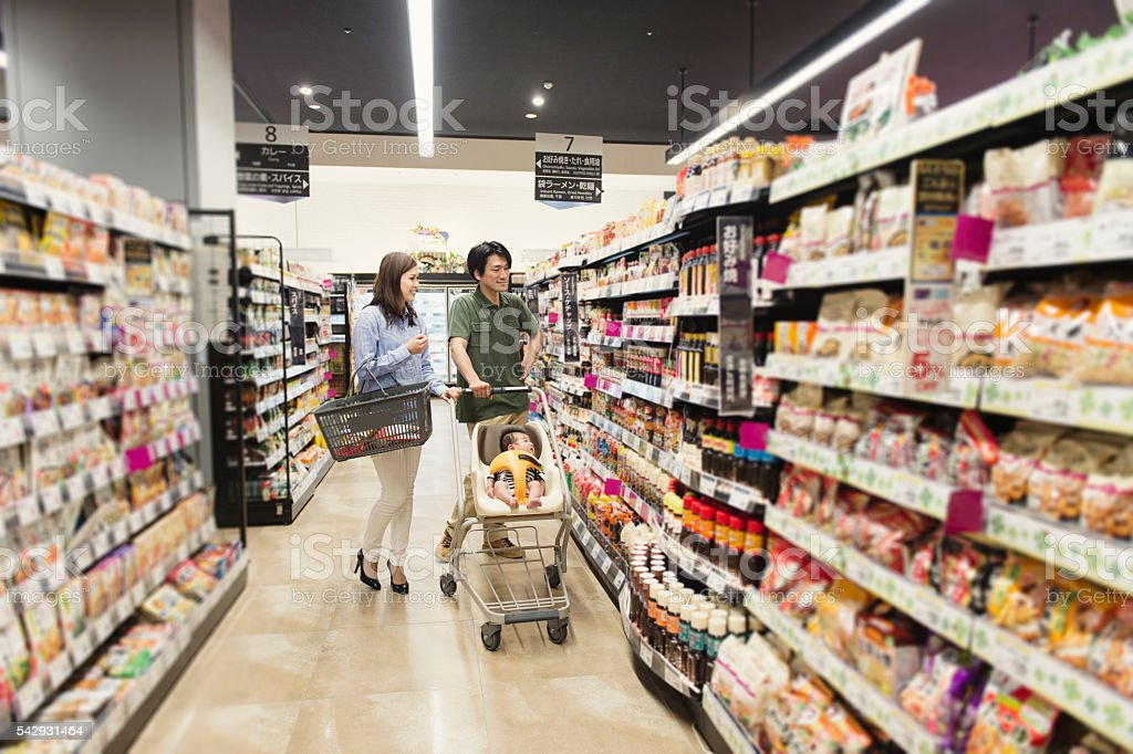 Family grocery shopping at the supermarket stock photo