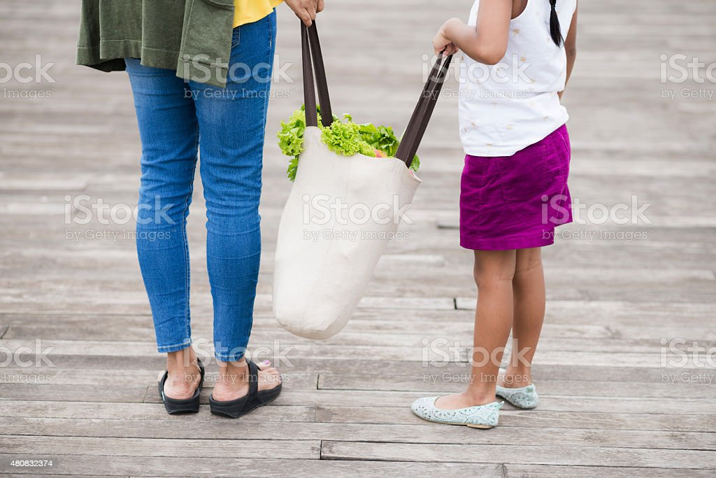 Family grocery shopping stock photo