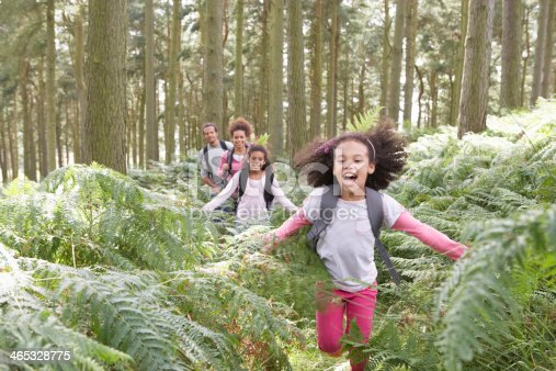 istock Family Group Hiking In Woods Together 465328775