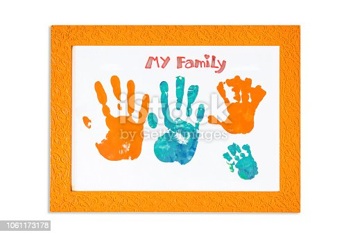 family hand print color on photo frame