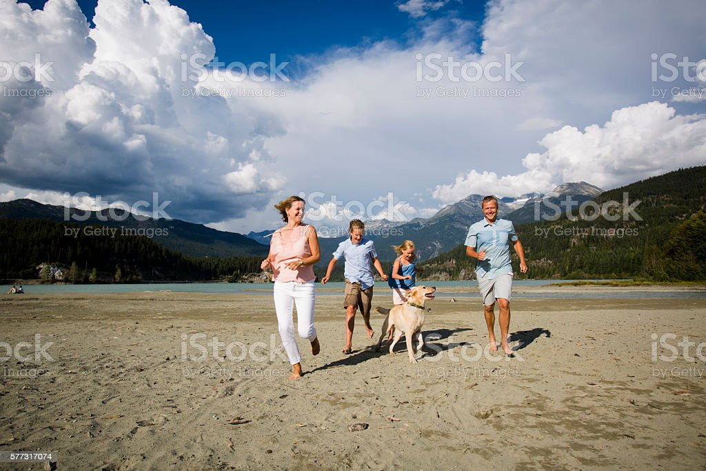 Family hanging out on beach with dog. stock photo