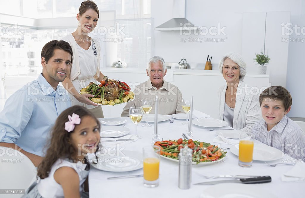 Family having a dinner together royalty-free stock photo