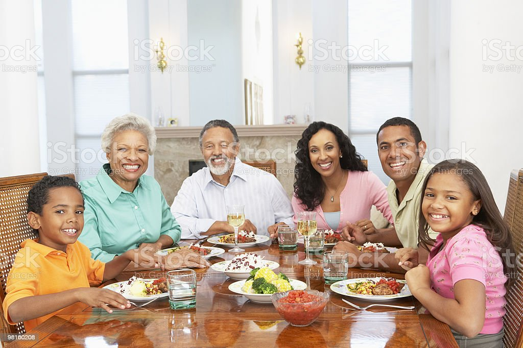 Family Having A Meal At Home royalty-free stock photo