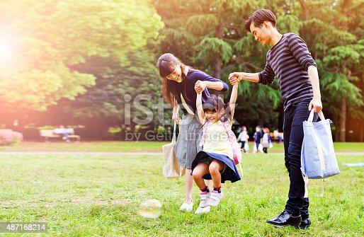 istock Family having a walk outdoors in summer, Tokyo 487168214