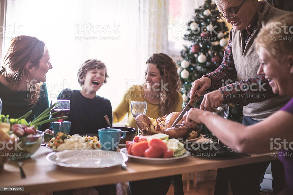 Family having Christmas dinner stok fotoğrafı