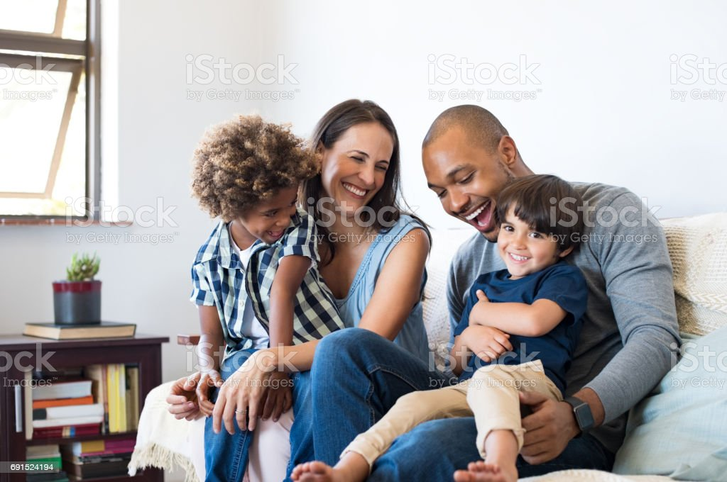 Family having fun at home stock photo