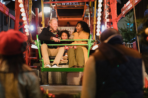 Family Having Fun on a Ferris Wheel