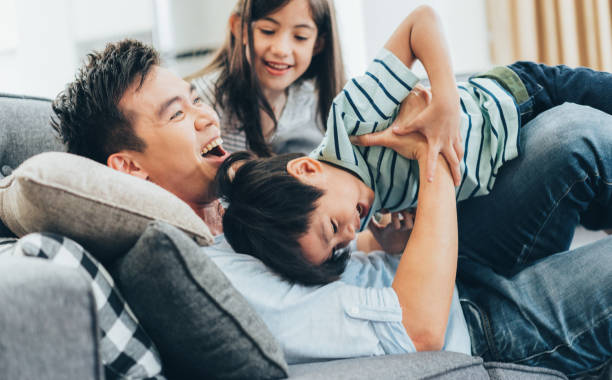 Family having fun stock photo