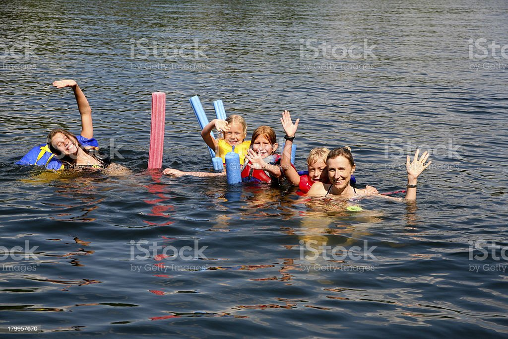 Family Having Fun Swimming royalty-free stock photo