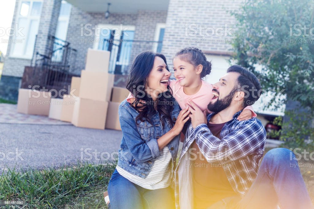 family having fun together stock photo