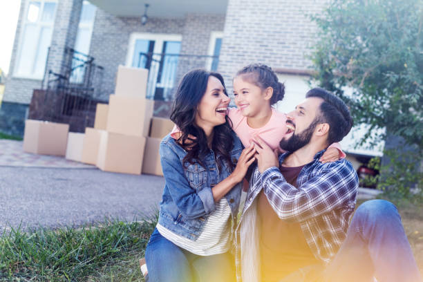 family having fun together - house hunting stock photos and pictures