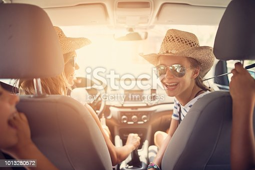 istock Family having fun travelling by car 1013280572