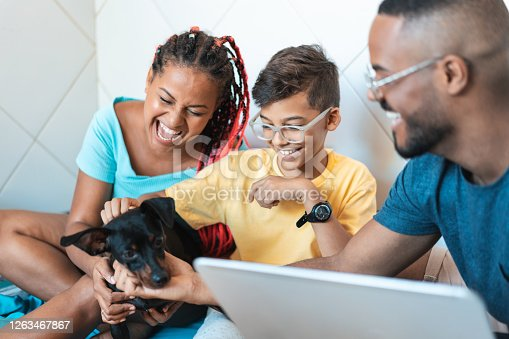 Afro family, Child, Dog, Happy, House
