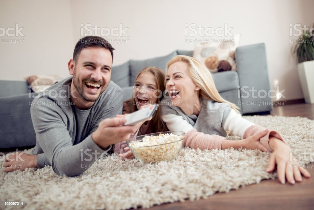 Family having great time at home stock photo