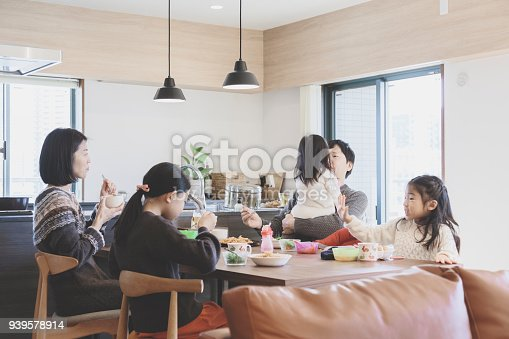 1152545468 istock photo Family having lunch at home 939578914