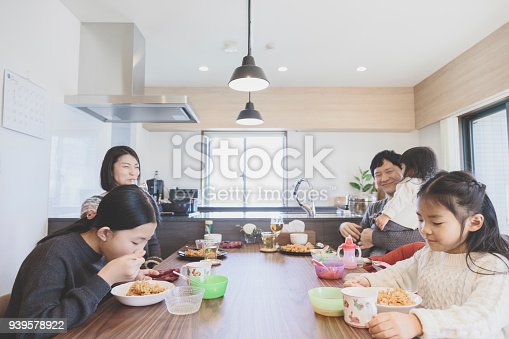 1152545468 istock photo Family having lunch at home 939578922