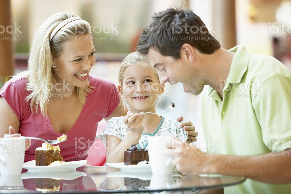 Family Having Lunch At The Mall royalty-free stock photo