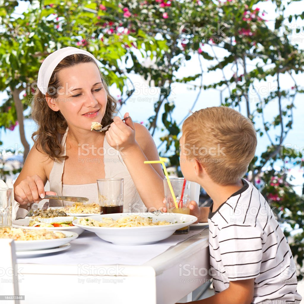 Family Having Lunch In The Restaurant royalty-free stock photo