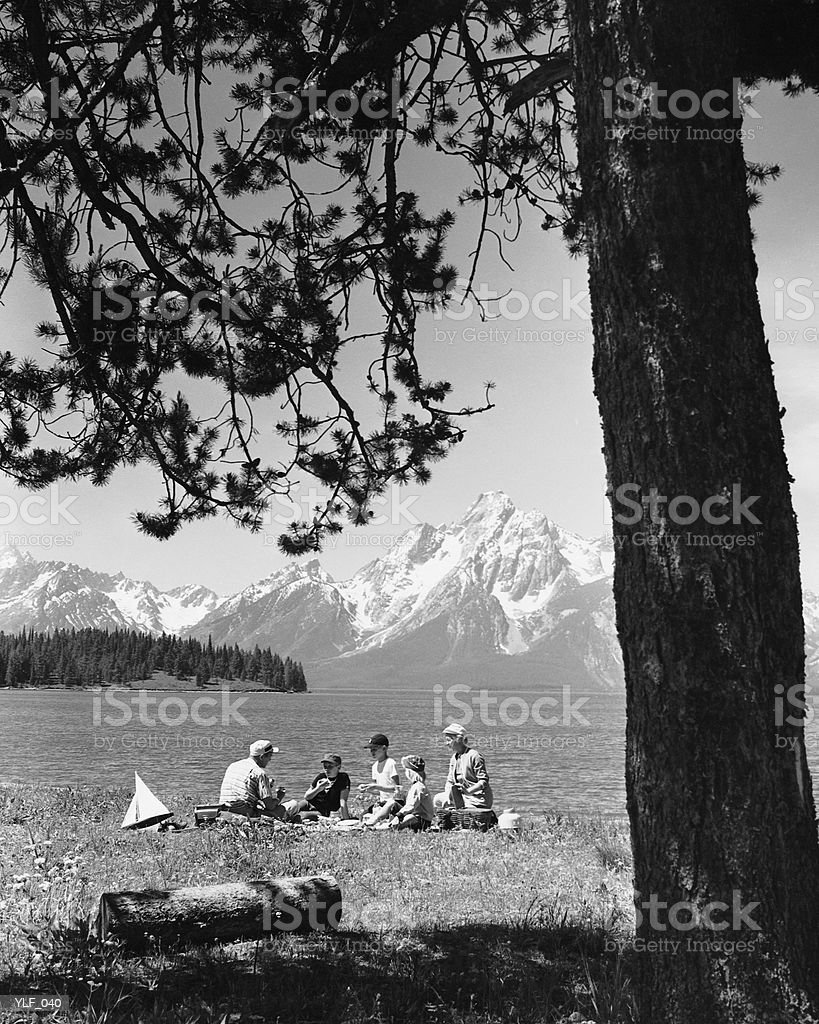 Family having picnic by lake; mountains in background royalty free stockfoto