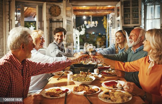 Closeup side view of a family having a Thanksgiving or Christmas eve dinner. They are having a feast at a rustic vacation house while sipping some wine, talking and laughing.