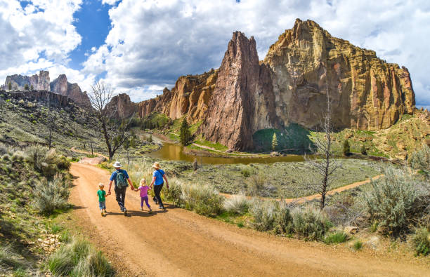 Family hike at Smith Rock State Park stock photo
