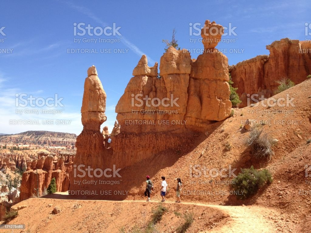 Family hiking in Bryce National Park Utah royalty-free stock photo