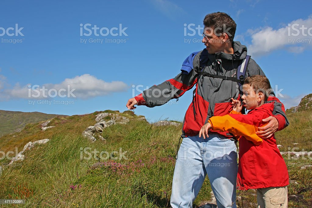 Family hiking in Ireland (man and child) royalty-free stock photo