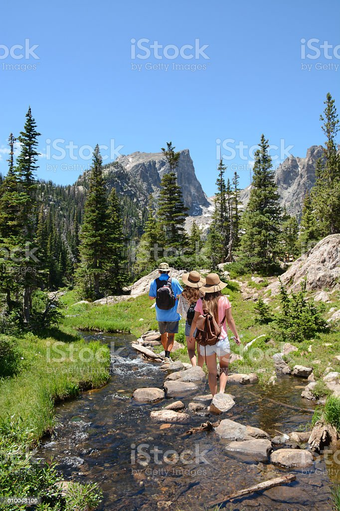 Family hiking in mountains on summer vacation. stock photo
