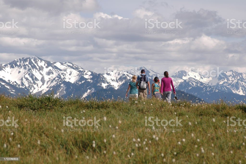 Family Hiking in Mountains stock photo