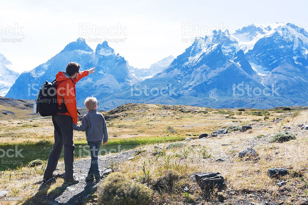 family hiking in patagonia royalty-free stock photo