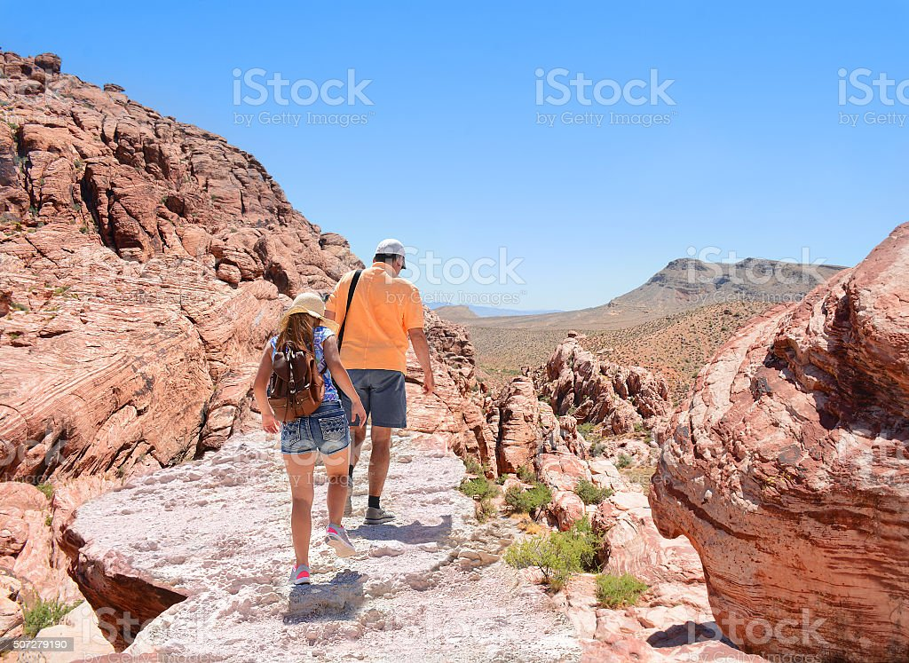 Family hiking in the mountains. stock photo