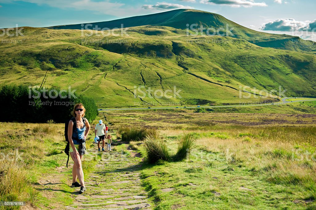 Family hiking in Welsh mountains stock photo