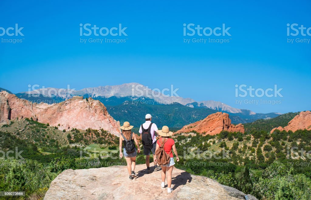 Family hiking on vacation  trip in Colorado. stock photo