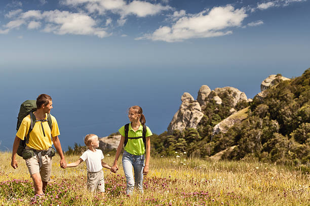 Family hiking stock photo