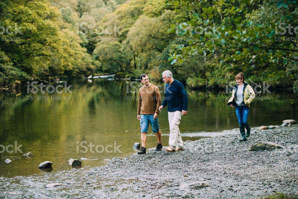 Family Hiking Round the Lake District stock photo