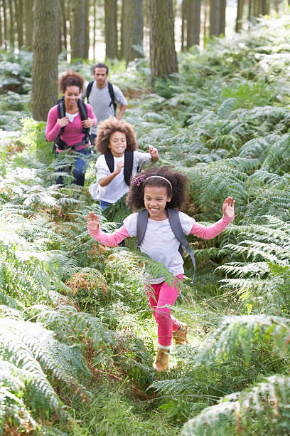 Familie zusammen Wandern im Wald – Foto