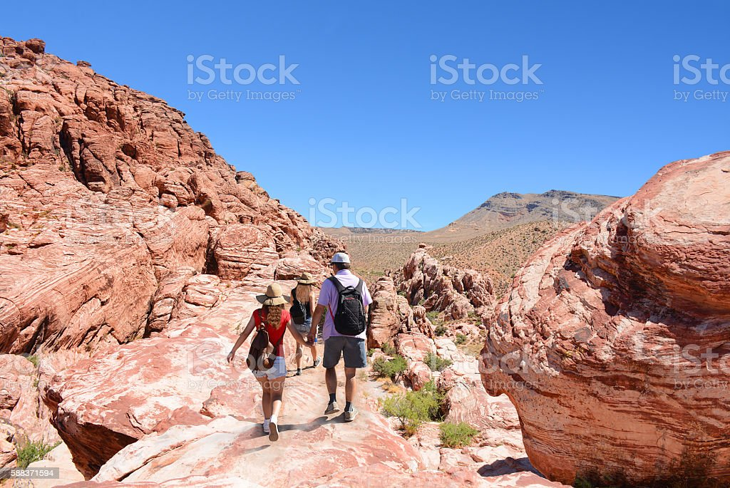 Family hiking trip on a summer vacation in the mountains. stock photo