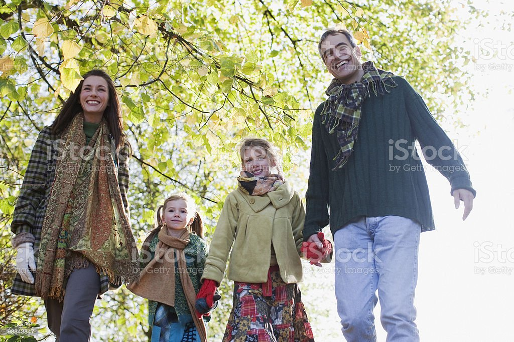 Family holding hands outdoors in autumn royalty free stockfoto