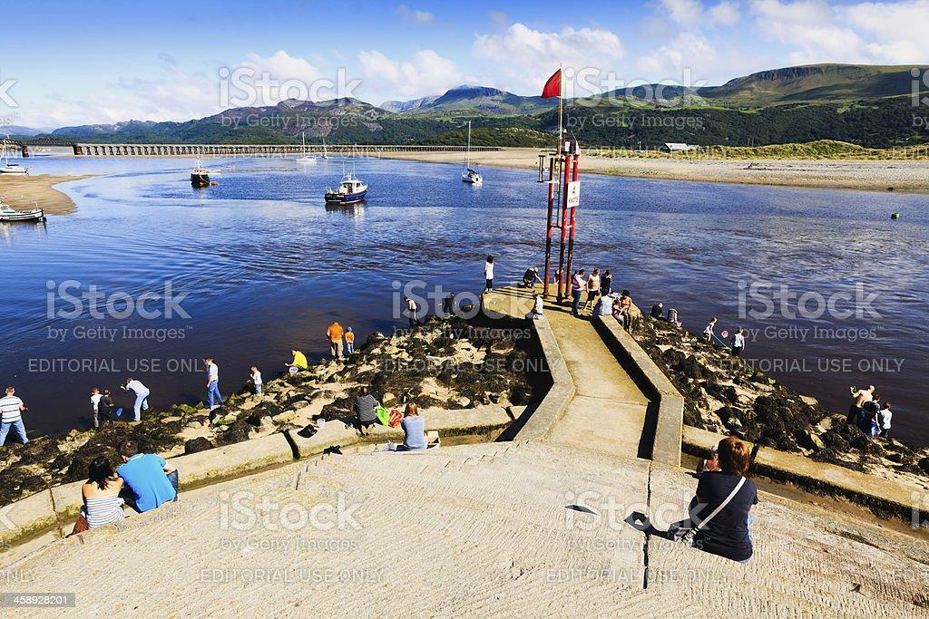 Family Holiday Makers at Barmouth, Wales royalty-free stock photo