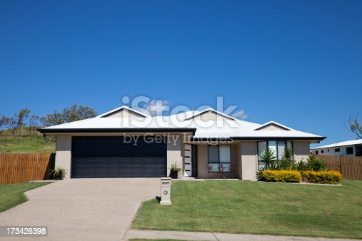 Front of a new neat modern single story family home with landscaped gardens, green grass and blue sky for copy space. Click to see more...