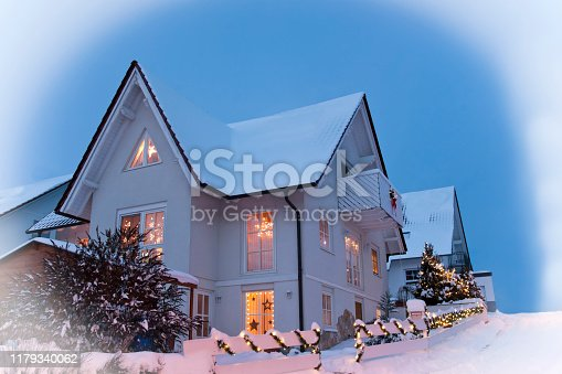 Family Home with Christmas Decoration