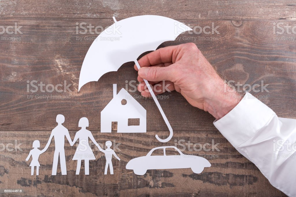 Family, house and car insurance concept stock photo